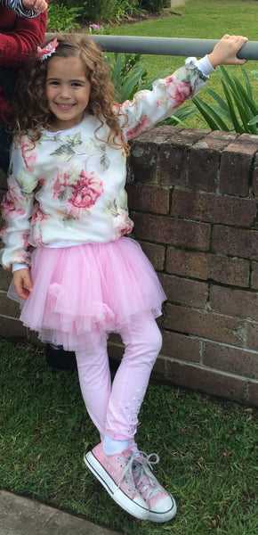 Floral white & pink girl jumper