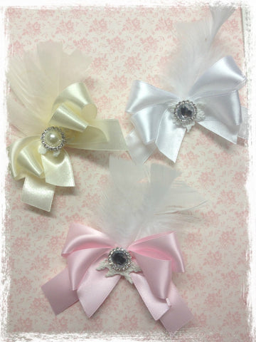 Baby & girl white ivory or pink vintage bow hair clip christening flower girl.clip76