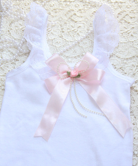 Baby to tween white top white ivory or pink bow brooch vintage inspired singlet tank top.SINGLET06