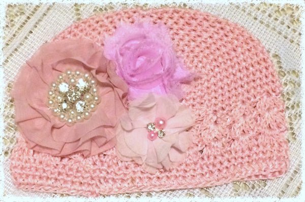 Baby toddler & girl pink vintage beanie