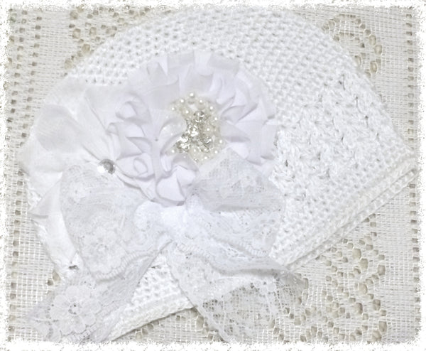 Baby toddler & girl white christening vintage beanie