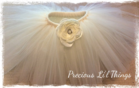 Baby & girl ivory rose flower girl tutu skirt