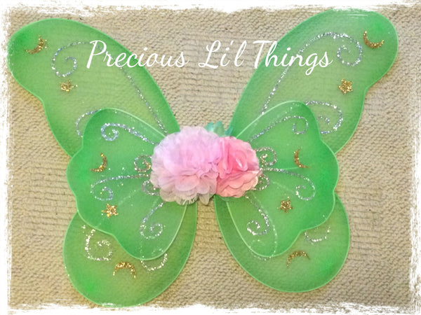 baby, girl, lady green & pink fairy wings