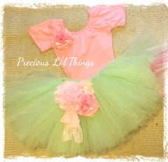 Mint green and pink vintage Baby & Girl Fluffy Floral Fairy Tutu Skirt