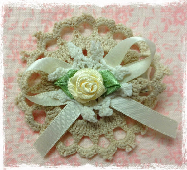 Baby girl & lady white or ivory vintage flower non slip hair clip christening flower girl.clip80