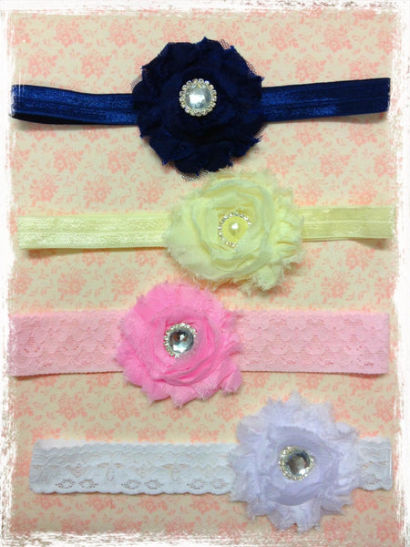 Baby & girl shabby flower headband. BRGN08