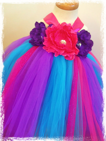 Baby & Girl Rainbow Floral Fairy Tutu Dress - TUFW84