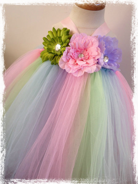 Baby & girl pastel floral flower girl fairy tutu dress TUFW73
