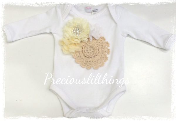 Cream and white baby long or short sleeve onesie romper