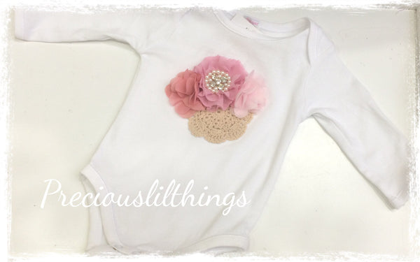 Pink and white baby long or short sleeve onesie romper