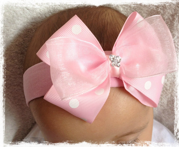 baby, girl & lady white pink fascinator bow headband