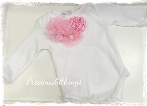 Pink & white baby long or short sleeve onesie romper