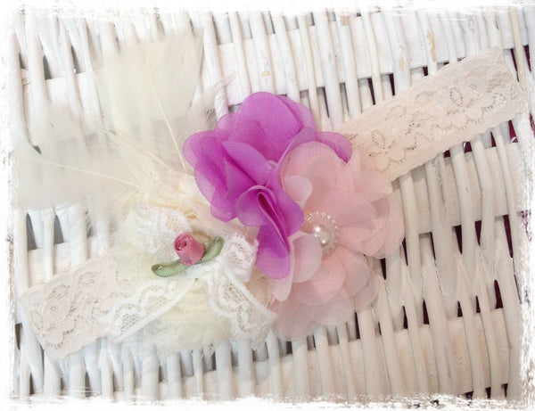 Baby, girl, lady ivory, pink and purple christening flower girl bridal fascinator flower headband FLHD68