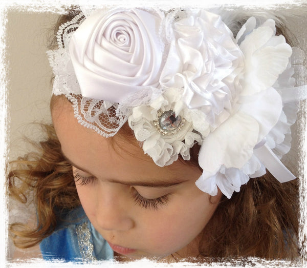 Baby, girl, lady white, ivory or pink vintage christening flower girl bridal fascinator lace flower headband  FLHD47