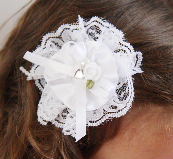 Baby girl lady white ivory or pink flower non slip hair clip christening flower girl.clip21