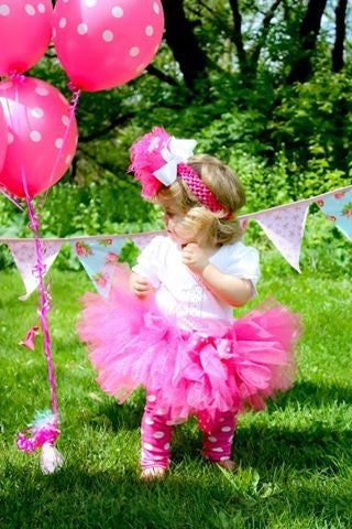 Baby & girl hot pink fluffy bow fairy tutu skirt