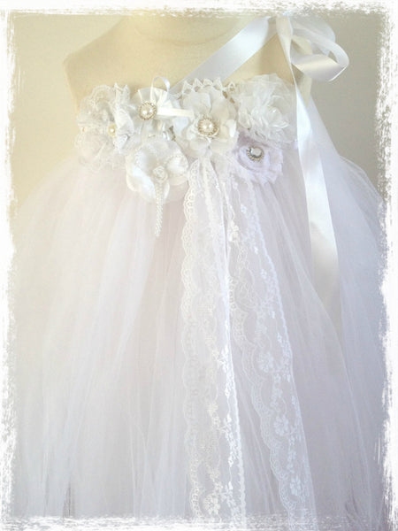 Baby & Girl Christening and Flower Girl Lace Tutu Dress - TUFW74