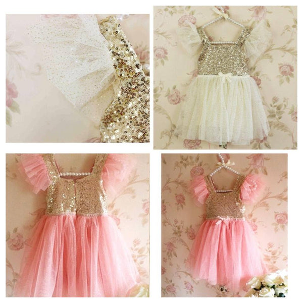 Peach gold sparkle dress