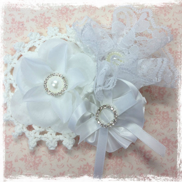 Baby, girl & lady ivory or white hair clip christening flower girl.clip89
