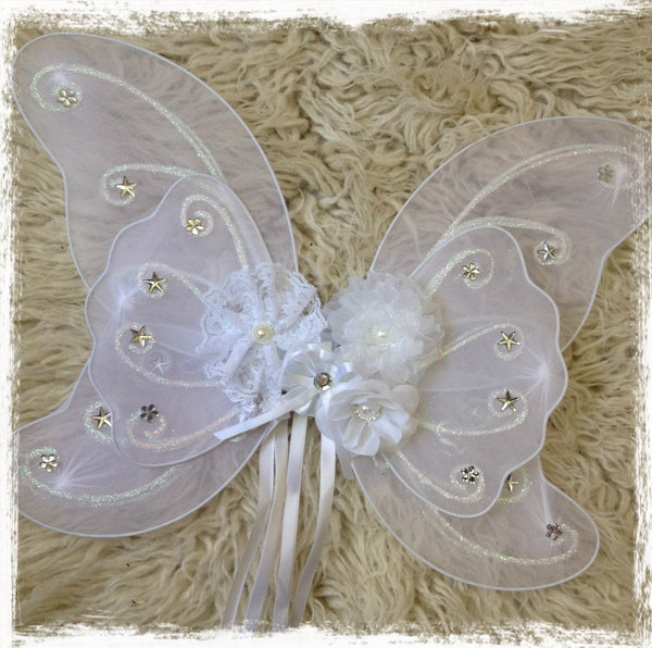 Baby, Girl, Lady, vintage white fairy wings with white or ivory peonie flowers. Wings07