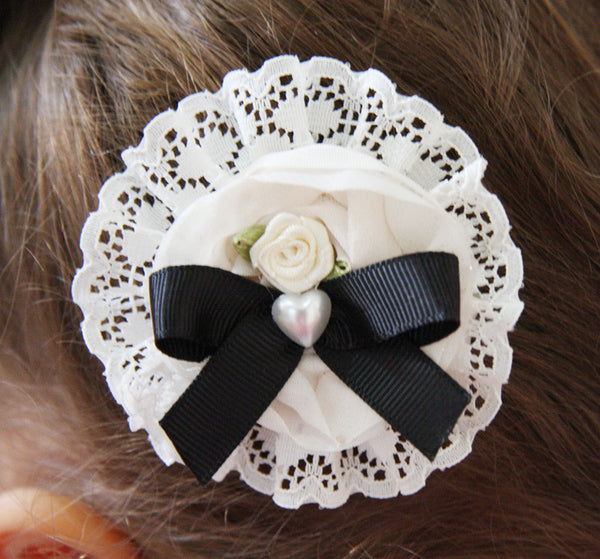 Baby girl lady ivory white or black flower non slip hair clip christening flower girl.clip20