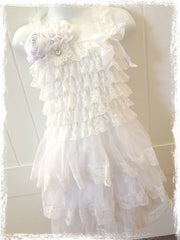 VINTAGE BABY TO GIRL LACE IVORY OR WHITE DRESS
