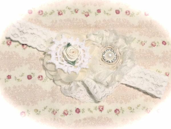 Baby, girl, lady white or ivory vintage christening flower girl bridal fascinator lace flower headband