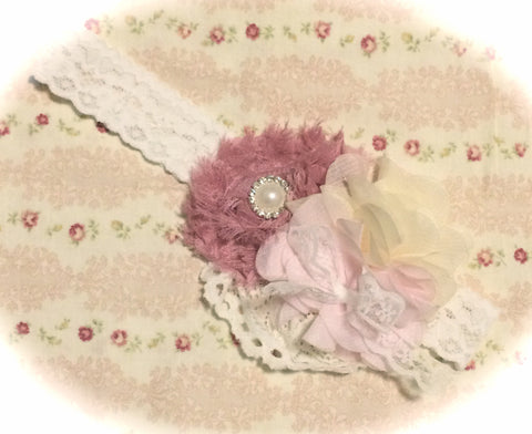 Baby, girl, lady pink and ivory christening flower girl bridal fascinator flower headband