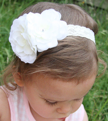 baby, girl, lady white or ivory christening flower girl bridal fascinator flower headband  FLHD15