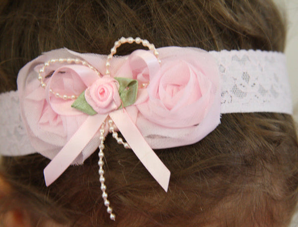 baby, girl, lady white, baby pink or ivory vintage christening flower girl bridal fascinator headband FLHD51