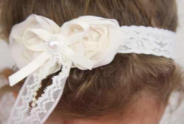 baby, girl, lady white, baby pink or ivory vintage christening flower girl bridal fascinator headband FLHD18