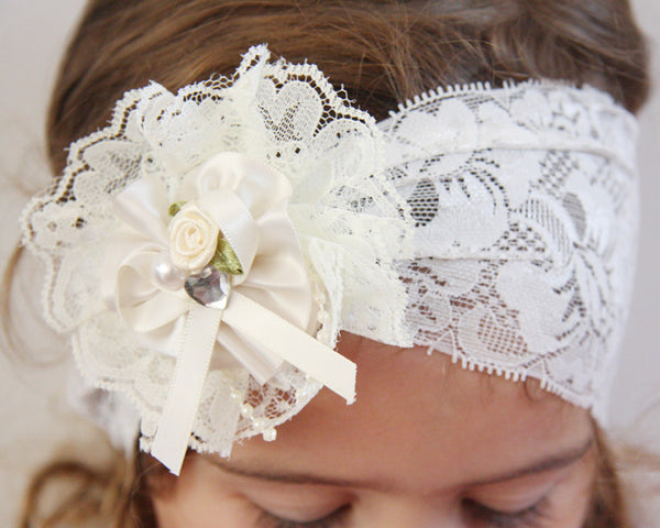 baby, girl, lady ivory or white vintage christening flower girl bridal fascinator hair clip on headband bandana wrap FLHD11