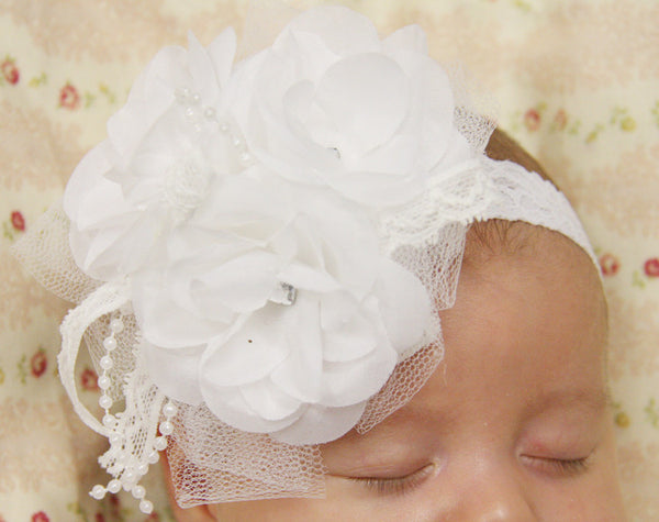 white or ivory baby, girl, lady vintage christening flower girl bridal flower headband FLHD02