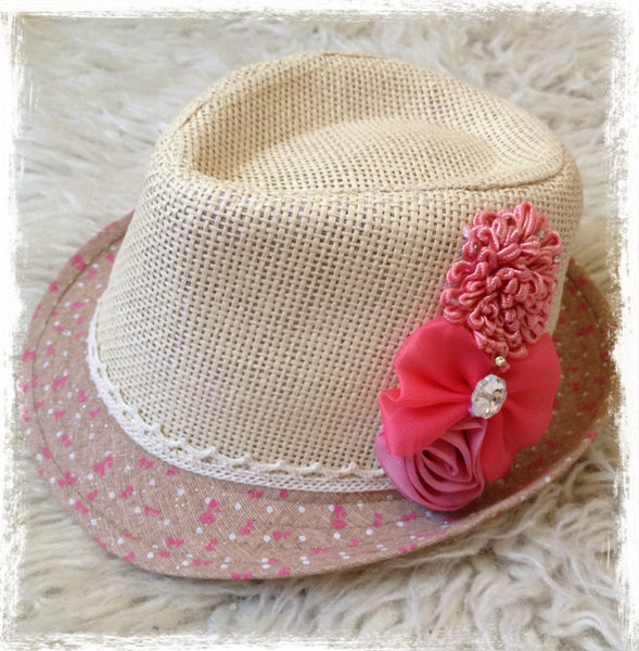 Floral fedora girl to lady hat. HAT03