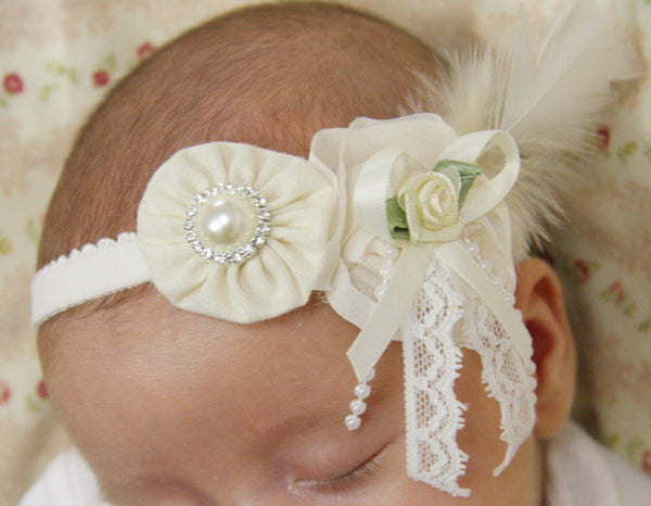 baby, girl, lady white or ivory vintage christening flower girl bridal fascinator headband FLHD08