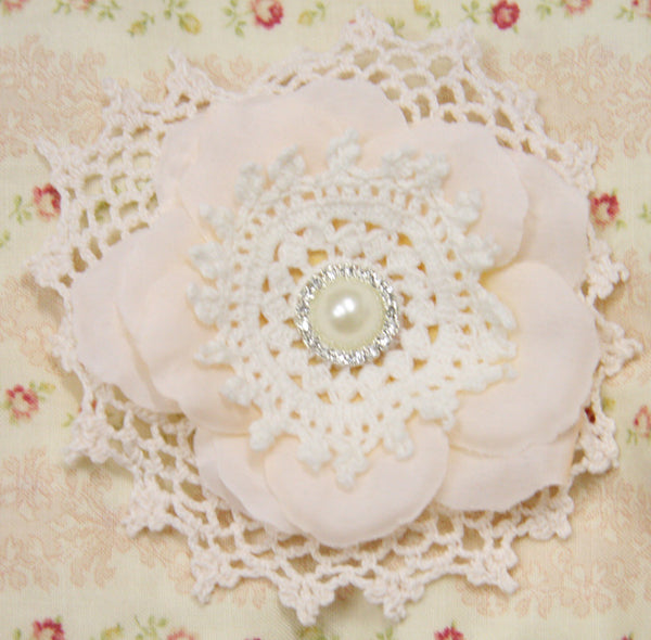 Baby girl or ladies ivory or white lace flower non slip hair clip. clip18