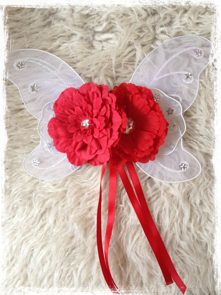 Baby, Girl, Lady, White fairy wings with red peonie flowers