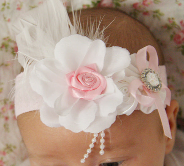 pink & white, white or ivory vintage christening flower girl bridal fascinator headband FLHD03