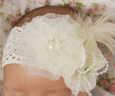 white or ivory baby, girl or lady vintage christening flower girl bridal fascinator headband FLHD04