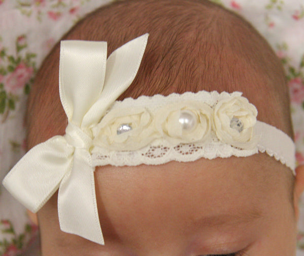 Baby, girl, lady ivory and pink christening flower girl bridal fascinator vintage bow flower headband
