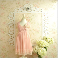 Pink embroidered lace tulle dress. Dress33