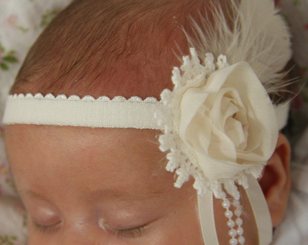baby, girl, lady white or ivory vintage christening flower girl bridal fascinator headband  FLHD17