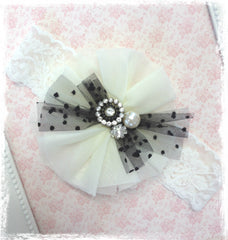 Baby, girl, lady black and ivory christening flower girl bridal fascinator flower headband FLHD30