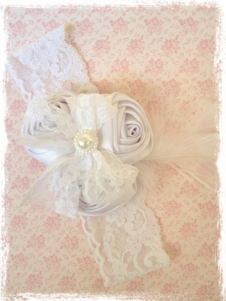 Baby, girl, lady white christening flower girl bridal fascinator flower headband FLHD70
