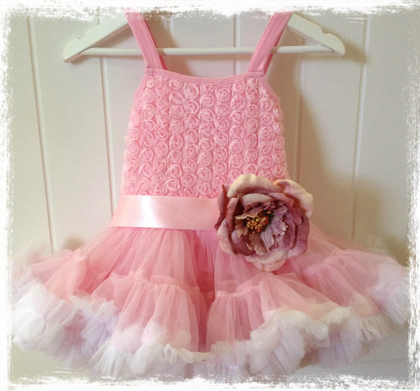 Baby & girl pink pettiskirt tutu dress. TUFW77