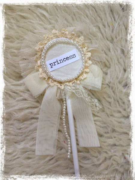 Princess  vintage ivory flower girl, fairy wand. Wand08