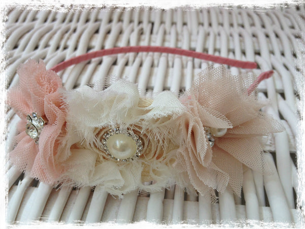 Baby, girl, lady ivory and rose pink christening flower girl bridal fascinator Alice flower headband FLHD64