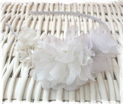 Baby, girl, lady white or ivory christening flower girl bridal fascinator Alice flower headband FLHD63