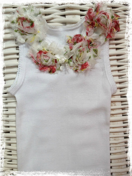 Baby to girl white and pink floral vintage inspired singlet tank top.SINGLET37