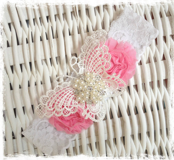 Baby, girl, pink, ivory or white christening flower girl bridal fascinator flower headband FLHD60